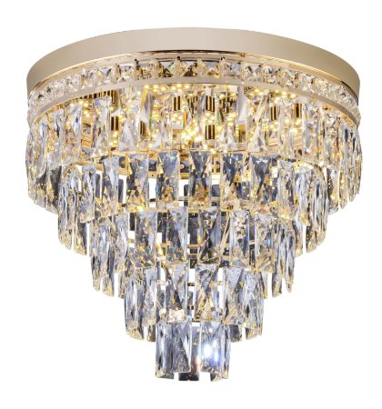 Lustre Plafon de cristal para Sala 45cm Florença Dourado Soquete G9