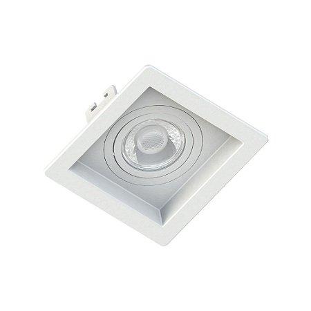Embutido MR16 Quadrado Dicroica Recuado Branco + Lâmpada Dicroica LED 4,8W Save Energy