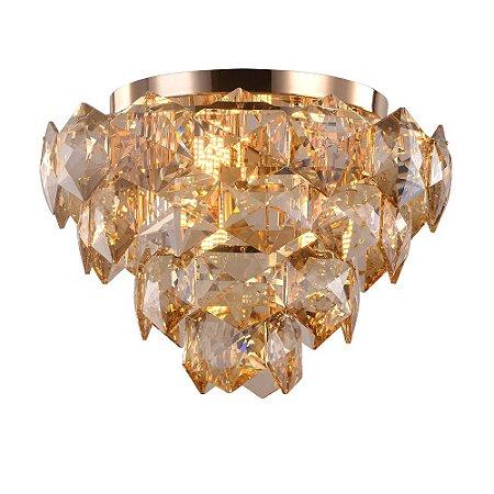 Lustre Plafon Cristalle 45cm Dourado com Cristal Champagne