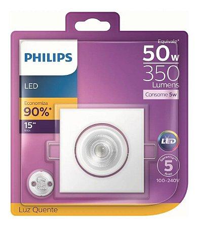 Spot LED Embutir Quadrado Direcional 5W 2.700K Branco Quente Philips