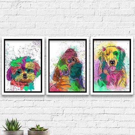 Kit Quadro Decorativo - Cachorros Golden Retriver Pug Yorkshire