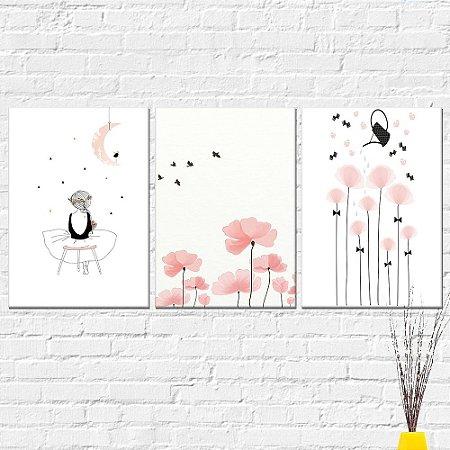 Kit Placa Decorativa - Flores Menina Campo