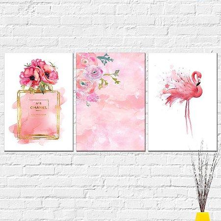 Kit Placa Decorativa - Perfume Channel Flores Flamingo