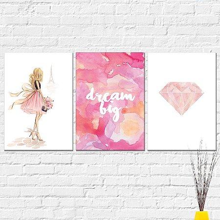 Kit Placa Decorativa - Menina Paris Frase Diamante