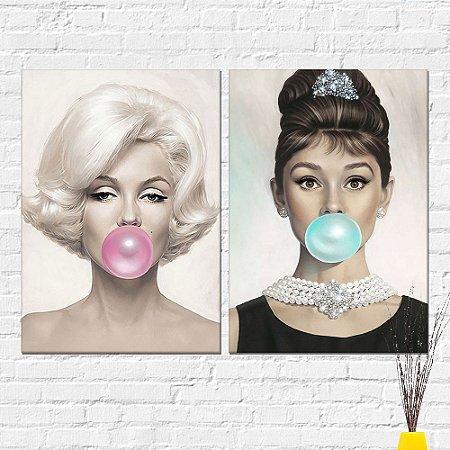 Kit Placa Decorativa - Audrey e Marilyn