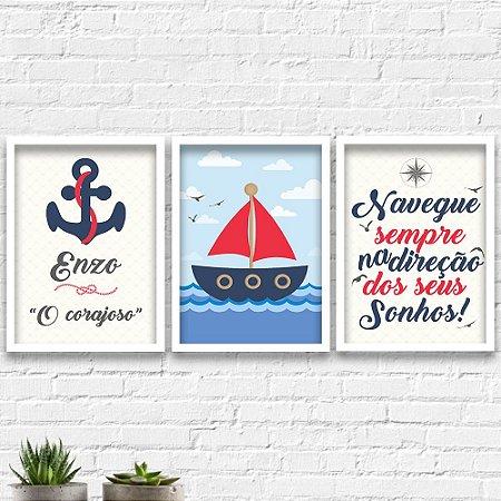 Kit Quadros Decorativos Decoração Infantil Marinheiro Nome