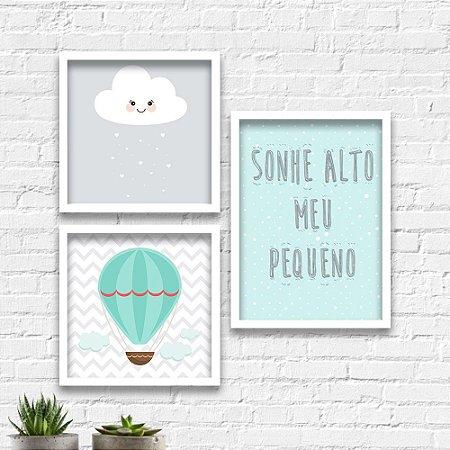 Kit Quadros Decorativos Decoração Infantil Sonhe Alto Balão Nuvem