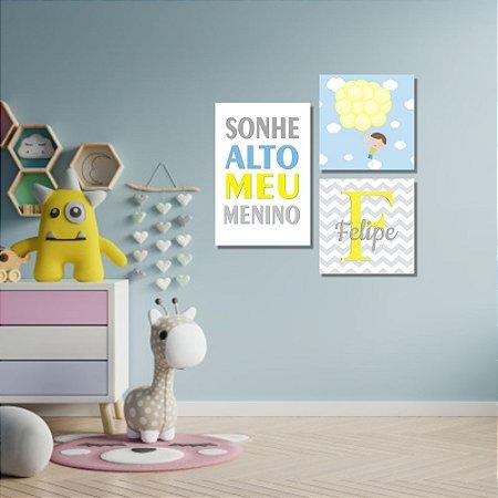 Kit Quadros Decorativos Decoração Infantil Sonhe Alto Menino Nome
