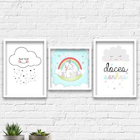Kit Quadros Decorativos Decoração Infantil Doces Sonhos