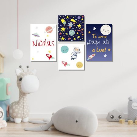 Kit Quadros Decorativos Decoração Infantil Astronauta