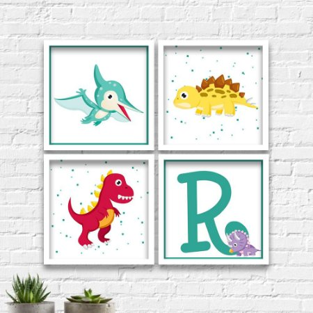 Kit Quadros Decorativos Decoração Infantil Dinossauros