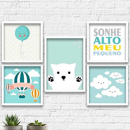 Kit Quadros Decorativos Decoração Infantil Urso Balão