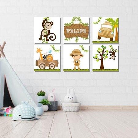 Kit Quadros Decorativos Decoração Infantil Safari
