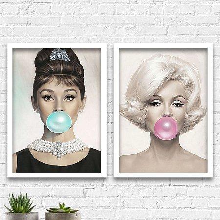 Kit Quadros Decorativos Decoração Cinema Audrey Marilyn