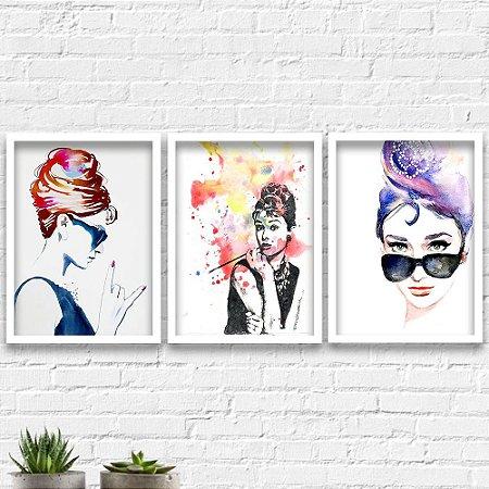 Kit Quadros Decorativos Decoração Cinema Audrey Hepburn