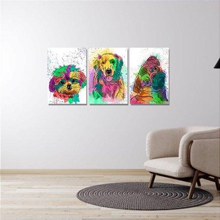 Kit Quadros Decorativos Decoração Cachorros