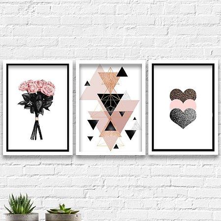 Kit Quadros Decorativos Decoração Flores Abstrato Coração