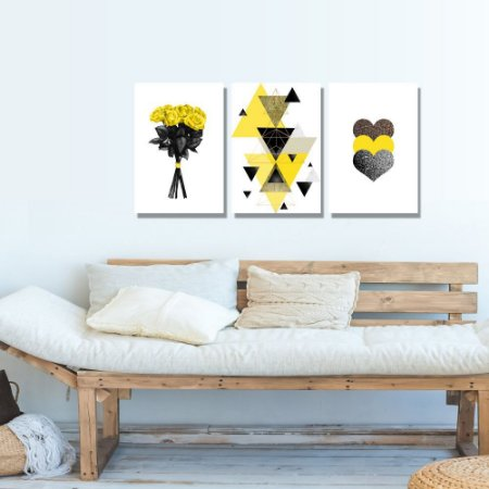 Kit Quadros Decorativos Decoração Flores Abstrato Coração Amarelo