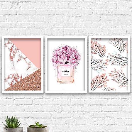 Kit Quadros Decorativos Decoração Abstrato Perfume Folhas