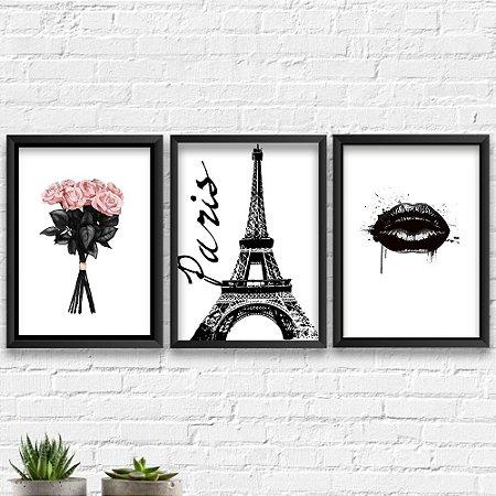 Kit Quadros Decorativos Decoração Flores Paris Boca