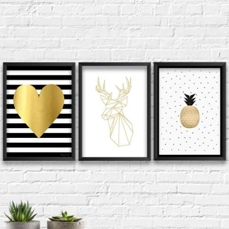 Kit Quadros Decorativos Decoração Abacaxi Alce Coração