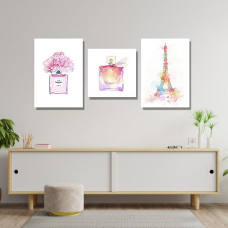 Kit Quadros Decorativos Decoração Paris Perfume Channel