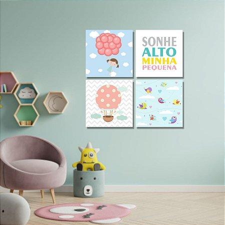 Kit Quadros Decorativos Decoração Infantil Menina Balão