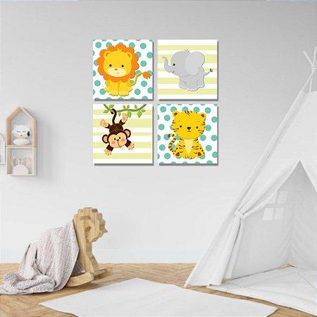 Kit Quadros Decorativos Decoração Infantil Animais