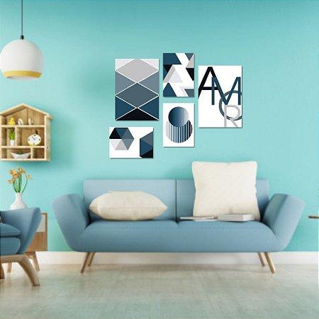 Kit Quadros Decorativos Decoração Abstrato Amor