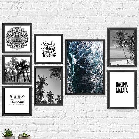 Kit Quadros Decorativos Decoração Praia Árvores Frases