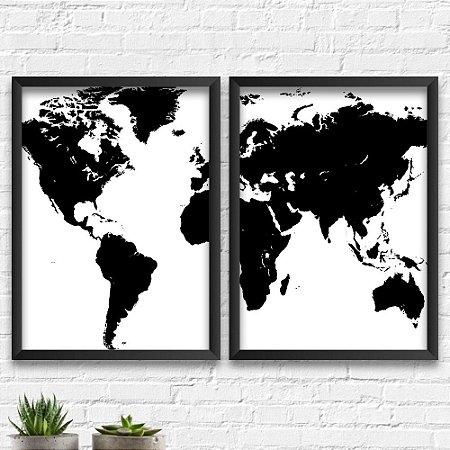 Kit Quadros Decorativos Decoração Mapa Mundi
