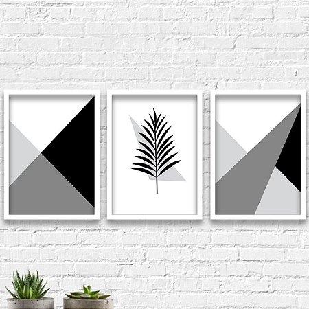 Kit Quadros Decorativos Decoração Abstrato Ramos