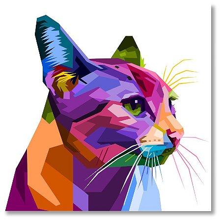 Quadro Decorativo Decoração Gato Geométrico