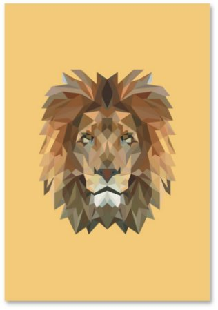 Quadro Decorativo Decoração Leão Geométrico