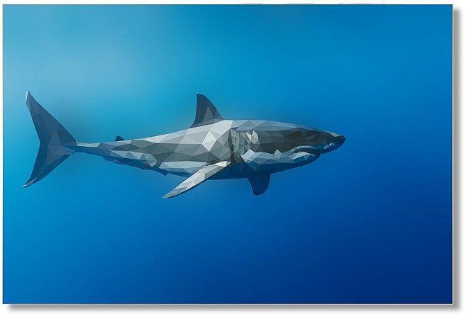 Quadro Decorativo Decoração Tubarão Geométrico