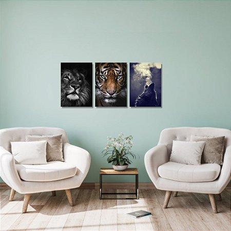 Kit Quadros Decorativos Decoração Animais