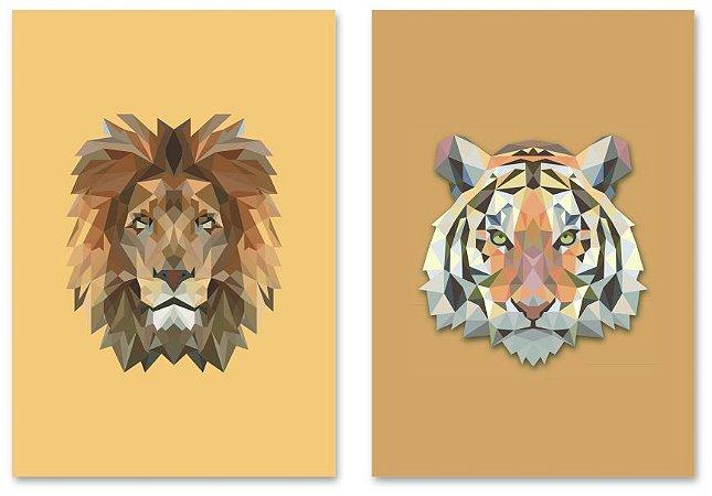 Kit Quadros Decorativos Leão Tigre
