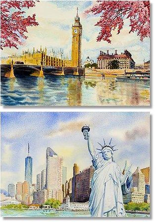 Kit Quadros Decorativos Londres Nova York