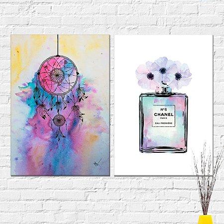 Kit Quadros Decorativos Perfume e Filtro dos Sonhos
