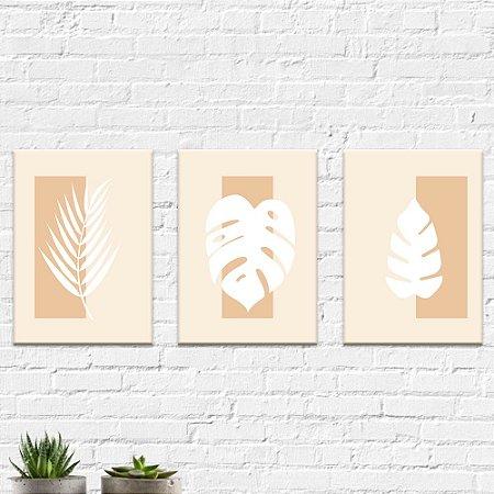 Kit Quadros Decorativos Folhas