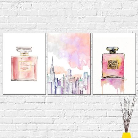 Kit Quadros Decorativos Perfumes Nova York