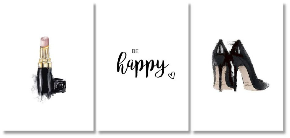 Kit Quadros Decorativos Be Happy