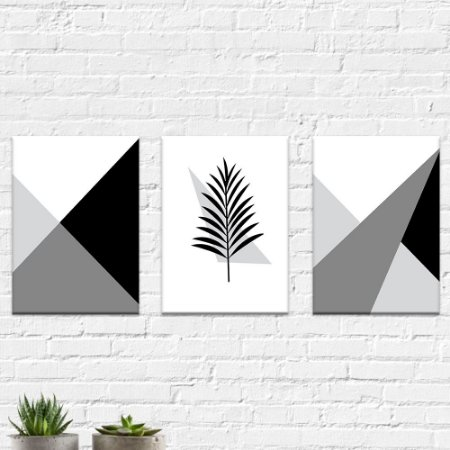 Kit Quadros Decorativos Abstrato Cinza