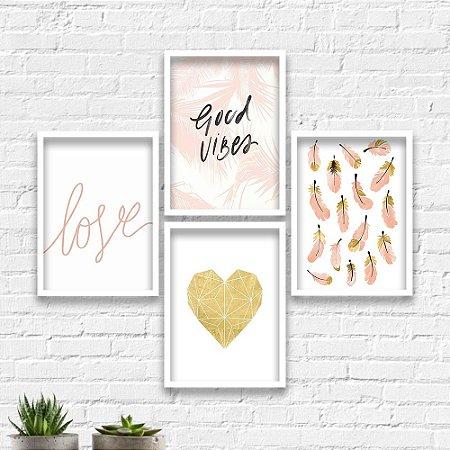 Kit Quadros Decorativos Good Vibes Love