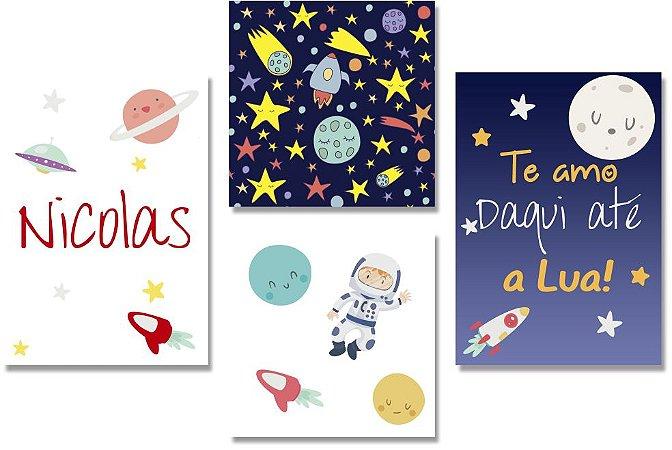Kit Quadros Decorativos Astronauta