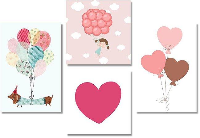 Kit Quadros Decorativos Cachorro Balões