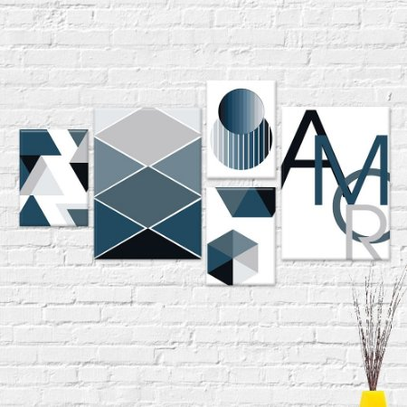 Kit Quadros Decorativos Amor Abstrato Azul
