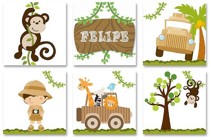 Kit Quadros Decorativos Safari