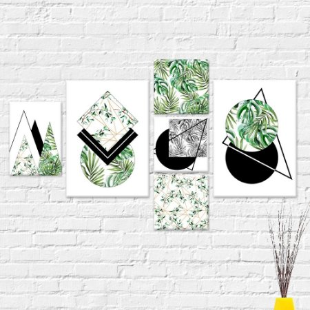 Kit Quadros Decorativos Folhas Abstrato