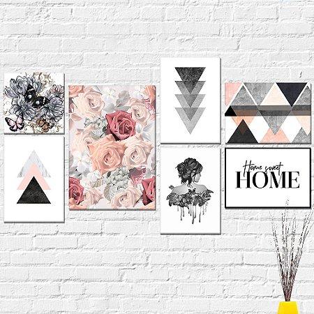 Kit Quadros Decorativos Menina Rosas Abstrato